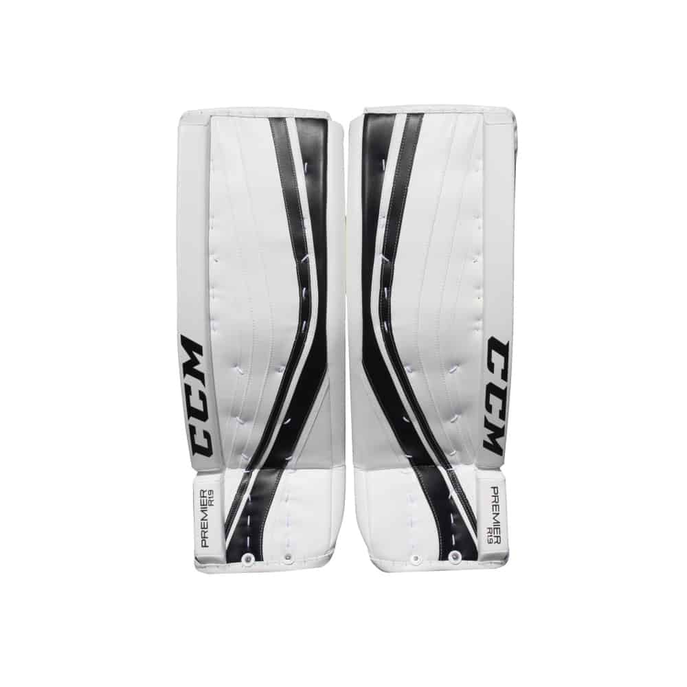 CCM Premier R1.9 Senior Goalie Leg Pads Black and White