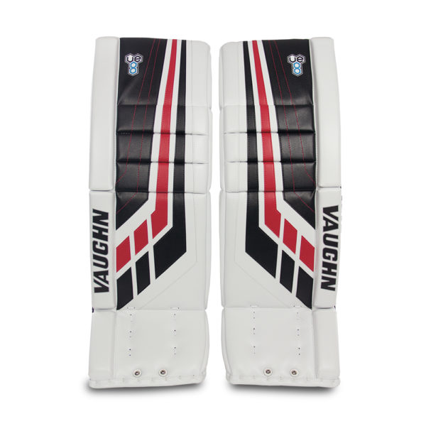 Vaughn Velocity VE8 Pro Senior Leg Pads Black Red and White