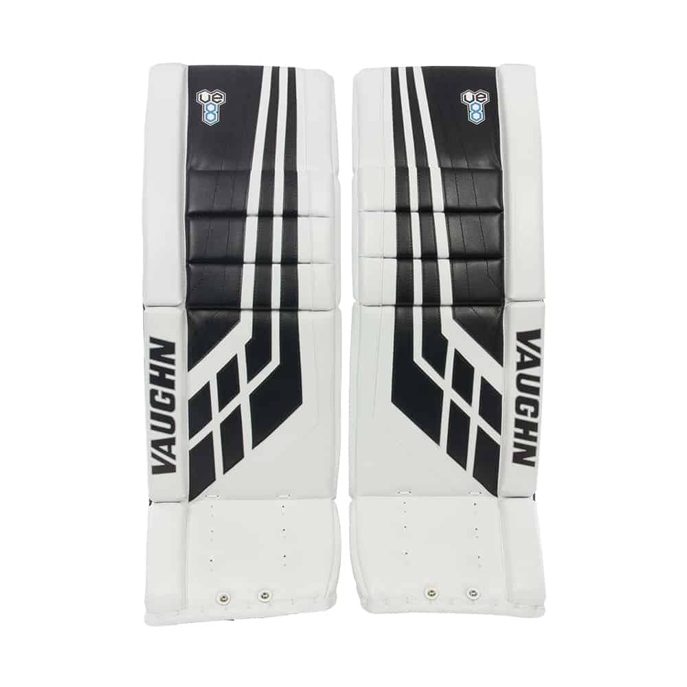 4dadfba1085 Vaughn Velocity VE8 Pro Senior Leg Pads Black and White