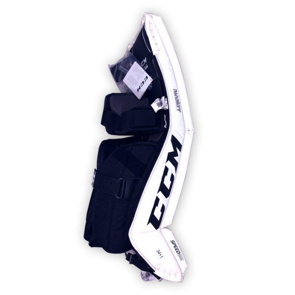 CCM Premier P2.5 Senior Goalie Pads in black and white