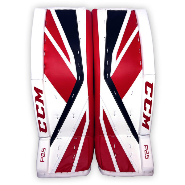 CCM Premier P2.5 Senior Goalie Pads in Chicago colors