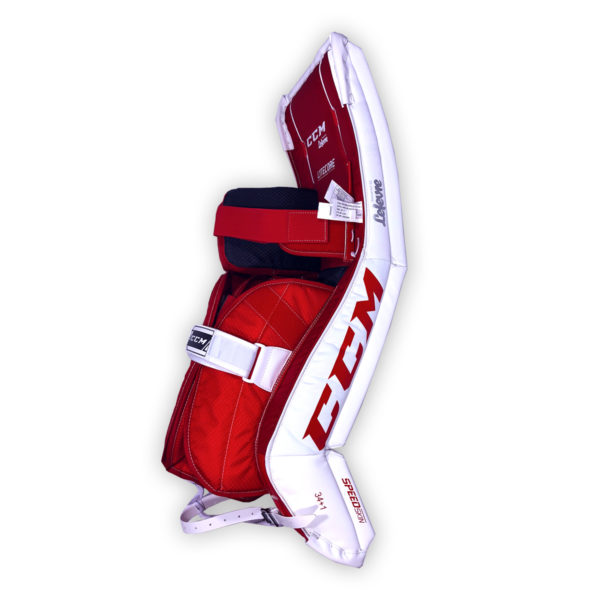CCM Premier P2.5 Senior Goalie Pads in Chicago colors on back