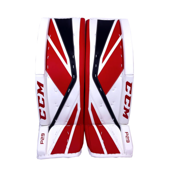 CCM Premier P2.9 Intermediate Goalie Pads in Black, Red and White