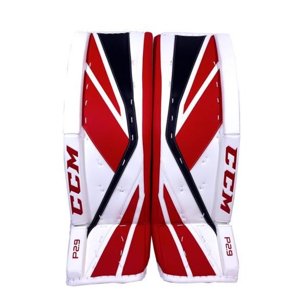 CCM Premier P2.9 Senior Goalie Leg Pad Black, Red and White Back