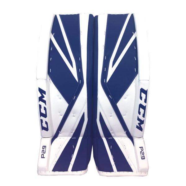 CCM Premier P2.9 Senior Goalie Leg Pad Blue and White