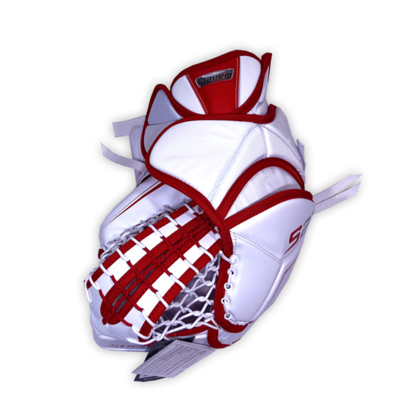 Bauer Supreme S27 Junior Goalie Catch Glove in Red and White on Back
