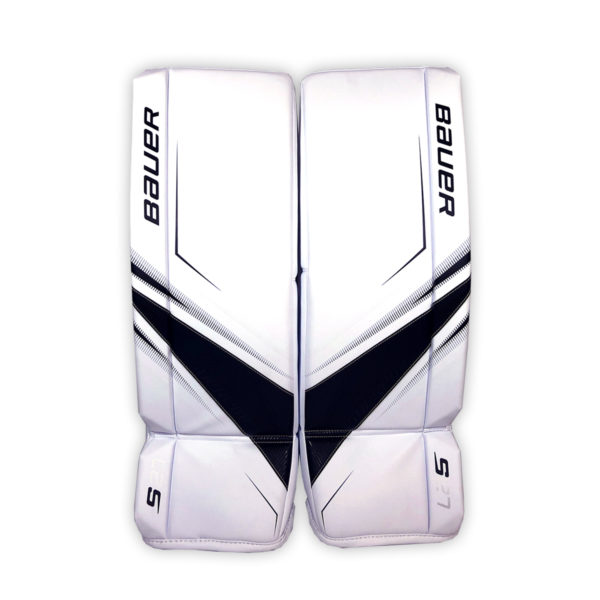 Bauer Supreme S27 Senior Goalie Leg Pads in Black and White on Front