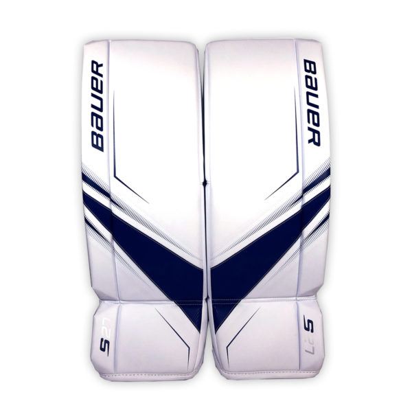 Bauer Supreme S27 Senior Goalie Leg Pads in Blue and White on Front