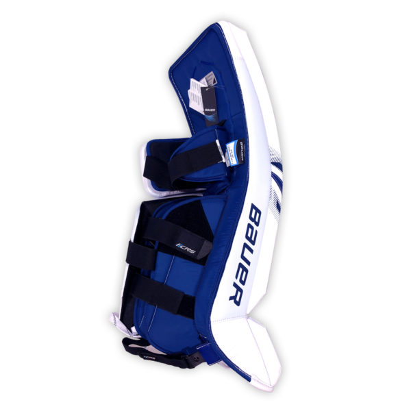 Bauer Supreme S27 Senior Goalie Leg Pads in Blue and White on Back