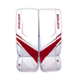 Bauer Supreme S27 Senior Goalie Leg Pads in Red and White on Front