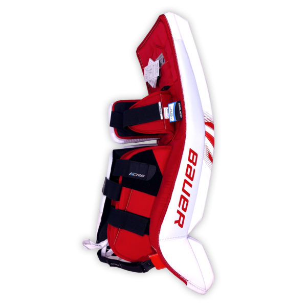Bauer Supreme S27 Senior Goalie Leg Pads in Red and White on Back