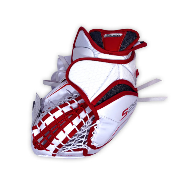 Bauer Supreme S29 Intermediate Goalie Catch Glove in Red and White on Back