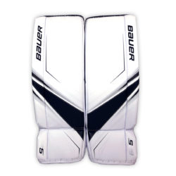 Bauer Supreme S29 Intermediate Goalie Leg Pads in Black and White