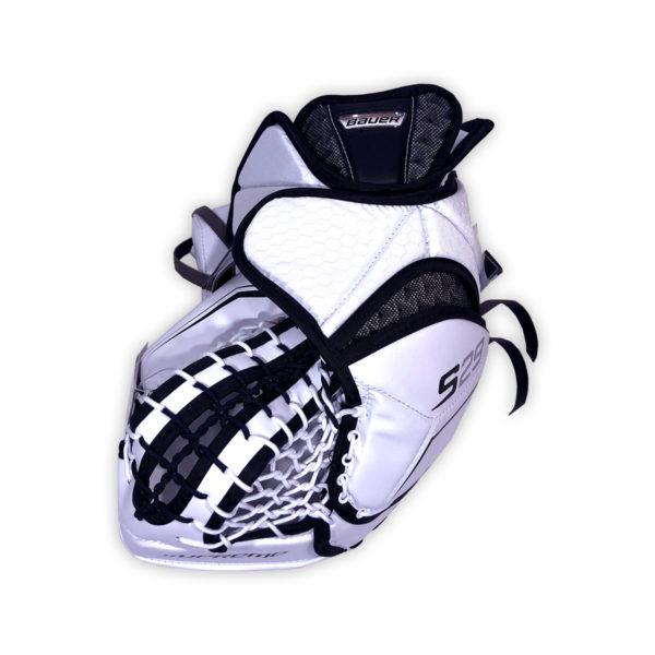 Bauer Supreme S29 Senior Goalie Catch Glove in Black and White on Back