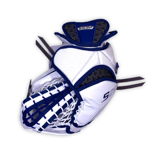 Bauer Supreme S29 Senior Goalie Catch Glove in Blue and White on Back