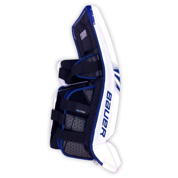 Bauer Supreme S29 Senior Goalie Leg Pads in Blue and White on Back