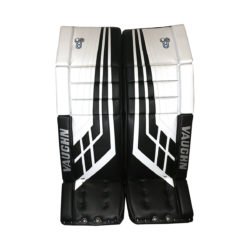Vaughn Velocity VE8 Double Break Intermediate Goalie Leg Pad in White and Black