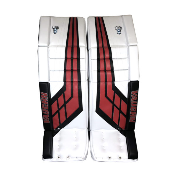 Vaughn Velocity VE8 Double Break Intermediate Goalie Leg Pad in White, Red and Black