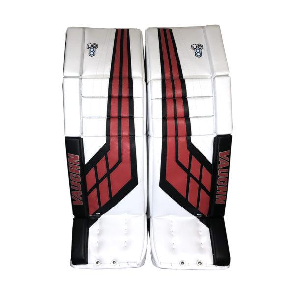 Vaughn Velocity VE8 Pro Double Break Senior Goalie Leg Pads in White, Black, Red