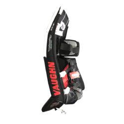 Vaughn Velocity VE8 Pro Double Break Senior Goalie Leg Pads in White, Black and Red on Side