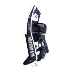 Vaughn Velocity VE8 Pro Double Break Senior Goalie Leg Pads in White, Navy and Silver on Side